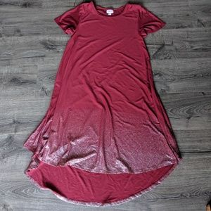 LuLaRoe Carly Red with silver